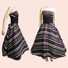 Vintage 1950s Dress   Red Metallic Stripes   Strapless Dress   Party Dress   Full Circle Dress   Prom Dress   Lorie Deb Original   50s Dress