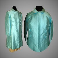 Vintage 1950s Coat . 1950s Coat . Evening Coat . Aqua . Double Breasted