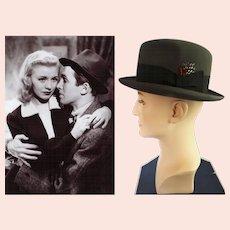 Dobbs 1940s Fedora Hat | Fedora Hat | Gray Fedora Hat | Dobbs Fedora Hat | Dobbs Fedora Hat Box | Fedora Hat | Solid Color Crest