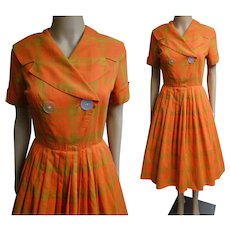 Vintage 1950s Dress | Orange Dress | Shawl Collar Dress | 50s Dress | Pleated 50s Dress | Plaid Dress | New Look Dress | Rockabilly Dress