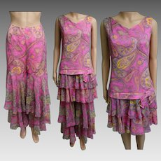 Vintage 1960s Dress | Paisley Print Dress | Pink Dress | 60s Dress | Designer Dress | 60s Mod Dress | Matching Palazzo Pants |