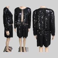 Vintage 1970s Sequin Shorts | Sequin Jacket | 70s Sequin Set | 1970s Sequin Set | 70s Shorts | 70s Sequin Shorts | Sequin Shorts | Black |
