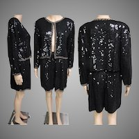Vintage 1970s Sequin Shorts | Sequin Jacket | 70s Sequin Set | 1970s Sequin Set | 70s Shorts | 70s Sequin Shorts | Sequin Shorts | Black |