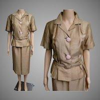 Vintage 1940s Suit | 40s Fox Original Suit | Larger Size | Gold 40s Suit | 40s Suit | 40s Tailored Suit | Original | 1940s Designer Suit |