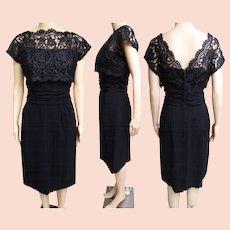 f5ff22efa9b45 Vintage 60s Black Wiggle Dress with Marabou Trim by Frances Prisco ...