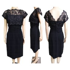 Vintage 1950s Dress | Black Dress | 50s Cocktail Dress | Party Dress | Lace Dress | Wiggle Dress | Hourglass Dress | Rockabilly Dress |