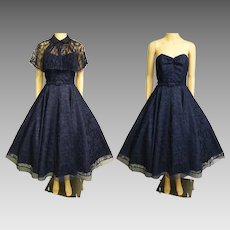 Vintage 1950s Dress | Navy Blue Dress | 1950s Party Dress | Blue Lace Dress | 50s Strapless Dress | 50s Dress | 1950s Dress Matching Cape |