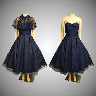 Vintage 1950s Dress   Navy Blue Dress   1950s Party Dress   Blue Lace Dress   50s Strapless Dress   50s Dress   1950s Dress Matching Cape  