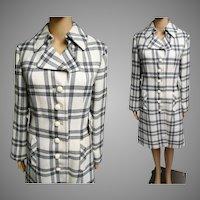 Vintage 1960s Coat   60s Designer Coat   Plaid Coat   60s Coat   Tailored Coat   Creme Black Greg Coat   1960s Dress coat