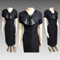 Vintage 1950s Dress | Black Dress | Clayton Dress | 50s Dress | Rockabilly Dress | 1950s Vintage Dress | Larger Size Dress |
