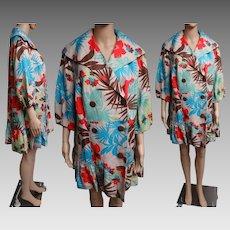Vintage 1970s Coat   70s Coat   Tropical Coat   Designer Coat   Tropical Flowers Coat   Double Breasted Coat   Colorful Coat