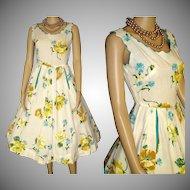 Vintage 1950s Dress . 50s Dress .  Full Circle Creme