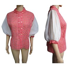 Vintage 1950s Blouse   Red Blouse   50s Blouse   Designer Blouse   Poufy Sleeve Blouse   Double Breasted Blouse