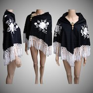 Vintage Black Shawl | Embroidered Shawl | Crocheted Fringe Shawl | White Embroidered Floral Shawl |