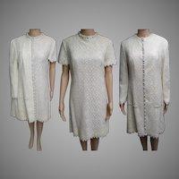 Vintage 1960s Dress   Matching Dress Coat   60s Dress   Wedding Dress   Lee Jordan Dress   Rhinestone Dress   Lace Dress