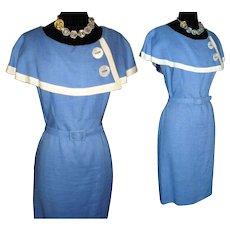 Vintage 1950s Dress . Shawl Collar . 50s Wiggle Dress