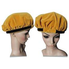Vintage 1950s Hat   50s Hat   Gold Hat   Designer Hat   Femme Fatale Hat   Rockabilly Hat   Edged in Black Hat  