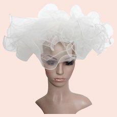 Vintage 1940s Hat   Large Brim Hat   Layered Hat   40s Hat   Creme Hat   Wedding Hat