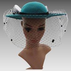 Vintage 1970s Hat | Vintage Hat | Aqua Hat | 70s Hat | Black Veil Hat | Doeskin Felt Hat