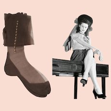 Vintage 1940s Seamed Stockings//Hosiery//Seamed//Nylons//Cuban Heel Stockings | Ornamentation of the side Nylons | Size 9 & 1/2