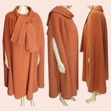 Vintage Designer Cape | Salmon Wool Cape | George David Cape | 1970s Cape | 70s Cape | Wool Cape | Vintage Cape | Plus Size Cape