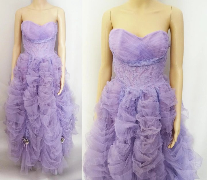 Vintage 1940s Gown // Lavender Gown// Strapless Gown // 40s Gown ...