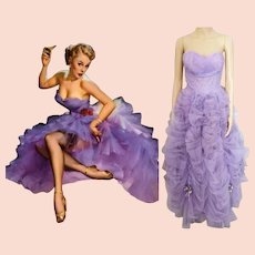 Vintage 1940s Gown // Lavender Gown// Strapless Gown // 40s Gown// Prom Gown//Old Hollywood Gown//1940s Evening Gown//