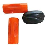 Vintage Bakelite Buttons | Orange Bakelite Buttons | Black Bakelite Button | Vintage Buttons | Buttons | 1950s Bakelite Buttons |