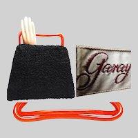 Vintage 1950s Purse   Black Purse   Designer Black Purse   Lucite Handle Purse   50s Purse   1950s Purse