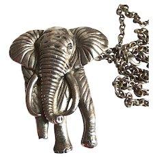 Vintage Elephant Necklace | Silver Metal Elephant Necklace | Elephant Necklace | 1960s Elephant Necklace | 60s Elephant Necklace |
