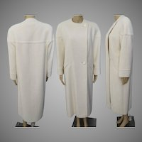 Vintage 1960s Coat   Winter White Coat   Full Length Coat   60s Coat   New Look   Tailored   Couture   High Fashion