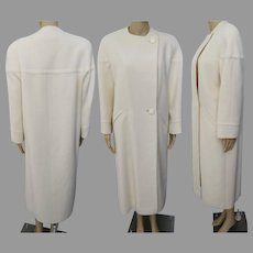 Vintage 1960s Coat | Winter White Coat | Full Length Coat | 60s Coat | New Look | Tailored | Couture | High Fashion