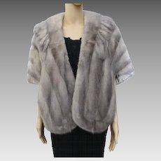 SILVER MINK fur stole by Harry K. Ott, vintage sixties, fully lined, real fur
