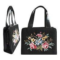 Vintage 1950s Purse | Needlepoint Purse | Floral Purse | Designer Purse | 1950s Purse | 50s Purse | Black Purse