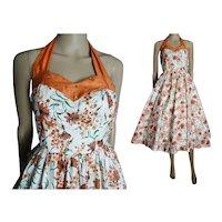 Vintage 1950s Halter Dress //50s Dress//Mod //New Look //Femme Fatale//Rockabilly