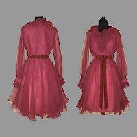 Vintage 1960s Dress  .  Miss Elliette . Burgundy . Chiffon