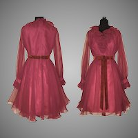 Vintage 1960s Dress  .  Miss Elliette . Burgundy . Chiffon