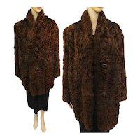 Vintage Curly Mongolian Lamb Coat   Brown Mongolian Lamb Coat   1940s Iconic Curly Mongolian Lamb   40s Fur Coat   Bakelite Buttons  