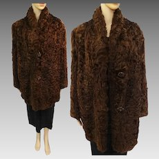 Vintage Curly Mongolian Lamb Coat | Brown Mongolian Lamb Coat | 1940s Iconic Curly Mongolian Lamb | 40s Fur Coat | Bakelite Buttons |