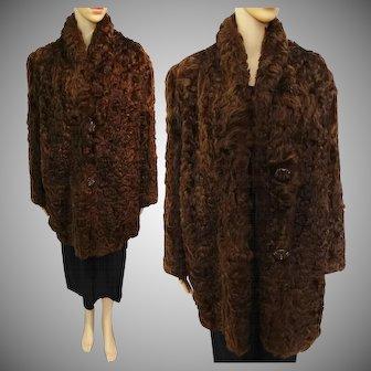 Vintage Curly Mongolian Lamb Coat | Brown Mongolian Lamb Coat | 1940s Iconic Curly Mongolian Lamb | 40s Fur Coat | Bakelite Buttons |