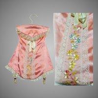 Vintage 1940s Hosiery Holder// 40s Nylon Holder // Peach Nylon Holder // Embroiderd Corset Nylon Holder