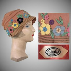 Vintage 1920s Hat | Colorful Felt Flowers | Brim has Rows Gold Braid | Marked Fahnley | 20s Hat