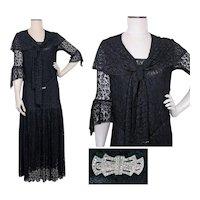 Vintage 1920s Dress | Flapper Dress | Black Lace | Lined | 20s Dress