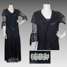 Vintage 1920s Dress | Flapper Dress | Black Lace | Lined | 20s Dress