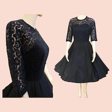 Vintage 1950s Dress//Black Party Dress//50s Dress//New Look//Rockabilly//Femme Fatale//