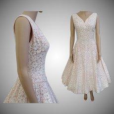 Vintage 1950s Dress | White Cotton Cord Lace Dress | Pink Taffeta Lining | 1950s Party Dress | 1950s Wedding Dress | 50s Dress