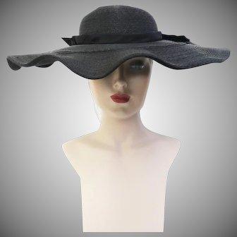 Vintage 1940s Hat | 40s Black Hat | Wide Brim Hat | 1940s Hat | Old Hollywood Hat | Glamorous 1940s Hat | 40s Hat