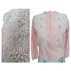 Vintage 1950s Beaded Sweater | White Beads | Faux Pearls | 50s Cardigan | Pink | Prince Made in Hong Kong