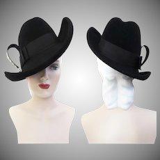 Vintage 1940s Hat | Black 40s Hat | Chesterfield Original 1940s Hat | 1940s Tilt Hat | 1940s Hat