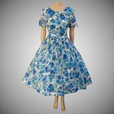 Vintage 1950s Dress | Floral Dress | Larger Size | Tags Attached | Never Worn | 1950s Party Dress | Full Circle Dress | 1950s Dress |